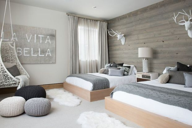 Scandinavian-bedroom-with-wooden-accent-wall-and-pops-of-gray